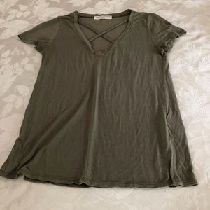Olive green v neck T-shirt